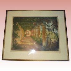 1923 Paris William A Lambrecht Garden Large Aquatint Etching Hand Signed Pub by Les Gravures Modernes Paris
