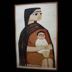 "Dallas Nine Artist Thomas Stell ""Mexican Mother"" 1966 Portrait Signed Original Listed Texas Regionalist Artwork Silkscreen"