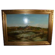 19Th C Longstock England Eel Trap Bridge Landscape Antique Oil Painting with 19th Century London Provenance