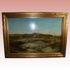 19Th C Longstock England Eel Trap Bridge Antique Oil Painting with 19th Century London Provenance