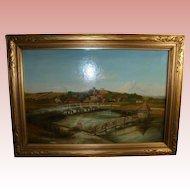 River Test 19th C Longstock England Eel Trap Bridge Landscape Antique Oil Painting London Provenance Fishing Seascape Hampshire County