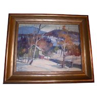 Canadian Landscape by William Garnet Hazard (1903 ~ 1987) Sascatchuan Canada Impressionist Landscape Well Listed Artist Original Oil Painting