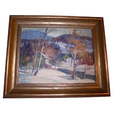 Canadian Landscape by William Garnet Hazard (1903 ~ 1987) Sascatchuan Canada Fall Autumn Winter Plein Air Scene Well Listed Artist Original Oil Painting