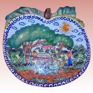 Painted Terracotta Apple Shaped Fruit Centerpiece Bowl Farmer & Ox Landscape Artist Signed Olaria Flosa Redondo Portugal Folk Art Faience