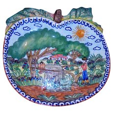 Painted Terracotta Apple Shaped Fruit Centerpiece Bowl Farmer & Ox Landscape Artist Signed Olaria Flosa Redondo Portugal Folk Art Faience