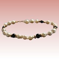 Lustrous 14K Baroque Cultured Pearl and Onyx Tennis Bracelet