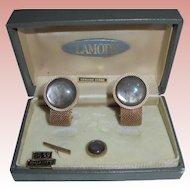 Vintage Lamode NIB Cufflinks Set w/ Tie-pin Mesh & Genuine Stone