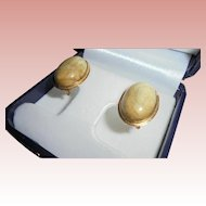 Exquisite Blonde Onyx 14K Gold Omega back Pierced Earrings European