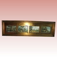 Reverse Painted Four Panel Framed Print European Courting Scene Gilt Frame Yardlong