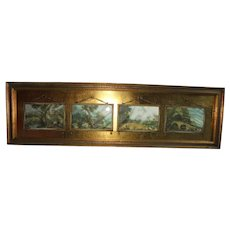 Reverse Painted Four Panel Framed Print European Courting Scene Gilt Frame Yardlong
