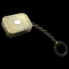 "Bobby Darin Song ""Beyond The Sea"" Reuge Miniature Music Box Charm Fob Pendant Gold-Plated on Key-chain St Croix Swiss Made"