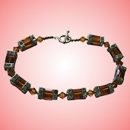 Vintage Cut Amber Colored Crystal and Rondels Beaded Gold-Filled Clasp Bracelet