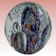 Murano Glass Paperweight Pencil Pen Holder Patriotic Red White & Blue MCM MId Century Mod