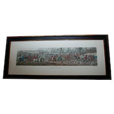 """English Fox Hunting Meet Scene Hand Colored Engraving 26"""" Long Equestrian Art after Aquatint by Thomas Sutherland"""