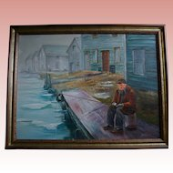 Mid-Century Oil Painting Man Fishing on Pier Signed by Artist