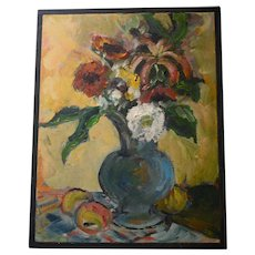 Renoir School Still Life Oil Painting Flowers in Vase with Fruit Floral Decor