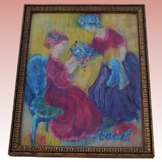 Vintage NYC Gallery Victorian Style Women in Parlor With Flowers Watercolor Wash Painting