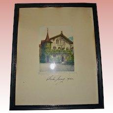 Bavarian Passion Play Actor Anton Lang Signed Etching 1930 Lang House Oberammergau Bavaria Germany