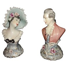 Antique Chantilly China Porcelain Bust Sculptures With Dresden Style Lace French Man Woman Couple