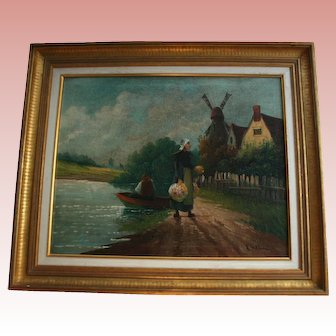 Antique Dutch Fisherman's Wife 19th Century Original Oil Painting Holland Windmill Lake Side Landscape Signed