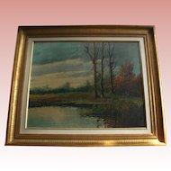 Barbizon French 19th Century Artist Paul Armandi Landscape Antique  Oil Painting