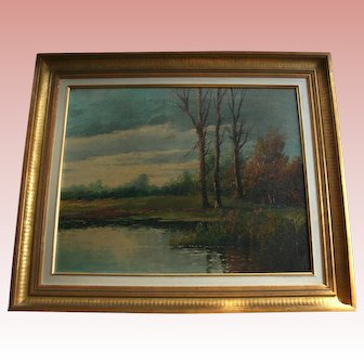 Barbizon French 19th Century Artist Paul Armandi Landscape Antique  Oil Painting