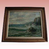 19th Centry Spanish Painter Felipe Checa Antique Oil Painting Rocky Coast  Spain Seascape European