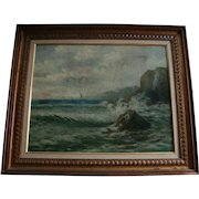 Famed Spanish Painter Felipe Checa Antique 19th Century Oil Painting Rocky Coast  Spain Seascape