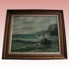 Famed Spanish Painter Felipe Checa Antique 19th Century Oil Painting Rocky Coast  Spain Seascape