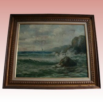 Listed Spanish Painter Felipe Checa Antique 19th Century Oil Painting Rocky Coast  Spain Seascape European