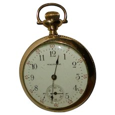 c1900 Antique Lady Waltham Pocket Watch Fahy Case Engraved to Dorothy Stabler Gold Plated Art Deco Time Piece