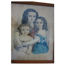 Currier & Ives Three Little Sisters 1862 Hand Colored Lithograph Very Rare Mother's Day Girls