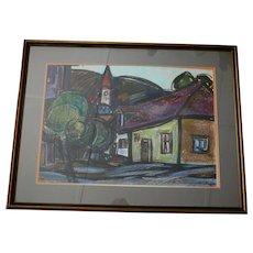 Cubist 1975 Tokaj Hungary Mixed Media Painting