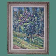Janis Silins (Listed Latvian 1896-1992) Colorful Treed Landscape Original Vintage Oil Painting