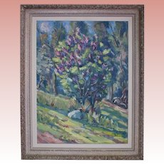 Janis Silins (Listed Latvian 1896-1992) Colorful Treed Landscape Original Vintage Oil Painting