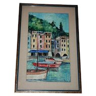 Portofino Italy Seascape Oil Painting Framed Under Glass