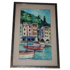 Portofino Italy Seascape Oil Painting Framed Under Glass