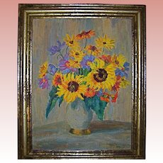German Listed Artist Sunflowers in Vase Original Oil Painting by Klara Tilmetz-Merk