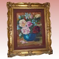 Impressionist Still Life Oil Painting in Gilt Wood Frame