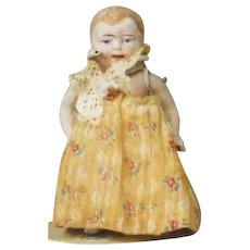 """Antique All Bisque 5"""" Baby Doll Looks German Unmarked"""