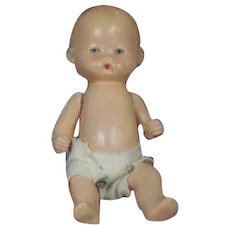 """Germany 6 3/4"""" Painted Bisque Baby Doll Marked Germany"""