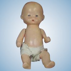 "Germany 6 3/4"" Painted Bisque Baby Doll Marked Germany"