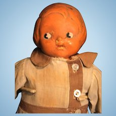 """Campbell Kid Vintage Cloth Doll with Composition Head 13"""" Ca 1910-1914 E I. Horsman Unmarked"""