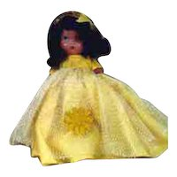 """Nancy Ann 5 1/2"""" Painted Bisque #179 Daisy Belle. In Original White Box with Blue Polka Dots"""