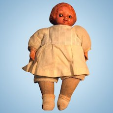 """Campbell Kid Vintage Cloth Doll with Composition Head 12"""" Ca 1910-1914 E I. Horsman Unmarked"""