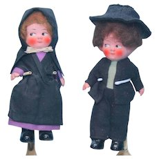 """Pair of Vintage Painted Bisque Boy & Girl Dolls 6"""" Unmarked"""