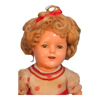 """Shirley Temple Composition Doll 15"""" by Ideal, Stand Up & Cheer Tagged Dress"""
