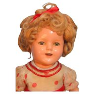 "Shirley Temple Composition Doll 15"" by Ideal, Stand Up & Cheer Tagged Dress"