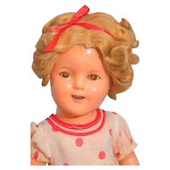 "Shirley Temple Composition Doll 15"" by Ideal, Stand Up & Cheer dress"