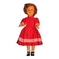 """Shirley Temple Doll by Ideal 17"""" 1950's Vinyl Marked on Back ST-17"""